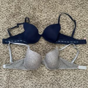 2 Pink VS  Grey and Navy Bras 32D